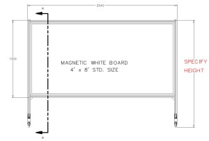 FREE STAND. MAG. WHITE BRD. DIMENSION VIEW