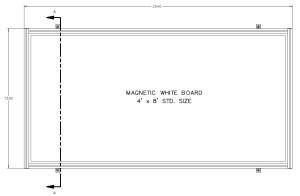WALL MOUNT WHITE BRD. DIMENSION VIEW